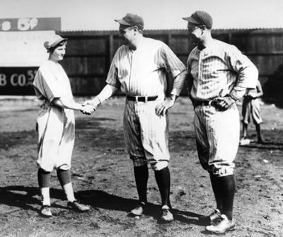 Jackie Mitchell with Babe Ruth